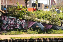 Street Art: Hackney Wick (Mabacam) Tags: streetart london wall painting graffiti stencil triangle mural ramp paint wallart urbanart freehand publicart hackney aerosolart towpath spraycanart stencilling eastend 2016 urbanwall