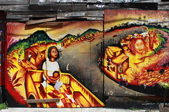 Mural in Balmy Ally in San Francisco (Tina K) Tags: red streetart yellow gul rdt vaggmaleri