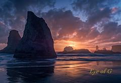 Face Rock Beach, Oregon Sunset.jpg (Eye of G Photography) Tags: sunset orange usa beach water oregon waves northamerica bandon rockformations skyclouds facerockbeach