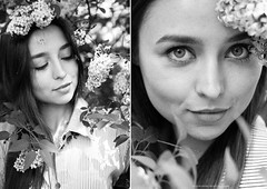 Ann (Yulchonok) Tags: portrait people girl monochrome 50mm blackwhite spring diptych ukraine lilac