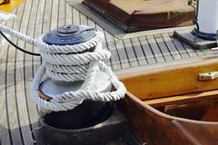 Classical wooden sailing boat, Lorient, Bretagne, France. (stbaillon) Tags: sea mer france marina wooden harbour steel bretagne rope panasonic maritime mooring winch bois voilier lorient sailingboat vernis amarre amarrage aussire fz300