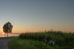 The Date (marco soraperra) Tags: blue sunset sea summer sky sun lake green grass bike nikon colourful nikkor