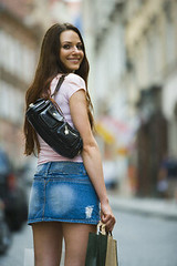 42-24172716 (Gibby Goulard) Tags: portrait people face smiling female shopping bag outdoors one flying clothing hands support women european commerce adult joy longhair lifestyle happiness skirt purse transportation hanging denim leisure daytime recreation cloth youngadult buttocks sunbathing enjoyment consumerism oneperson carrying backview shoppingbag individuality facialexpression casualclothing 20sadult lookingatcamera threequarterlength caucasianethnicity