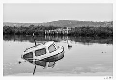 so long (Alja Ani Tuna) Tags: sea blackandwhite bw white black reflection water river prime boat seaside day sink 21 slovenia nikkor f18 submerged seca dailyphoto d800 85mmf18 onceaday 21365 nikkor85mm submergedboat onephotoaday nikond800 sea