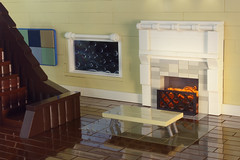 A Rainy Day In April (Carson Hart) Tags: wood brick art window water rain rock architecture carson table fire cool fireplace stair sill place floor lego room creative tan case architect photograph staircase april hart block diorama