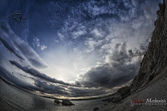Goodbye, Blue Sky. Extreme Series #1 (Alexis Methenitis) Tags: world new trip travel blue light sunset sea vacation sky colour green nature water beautiful weather clouds composition canon reflections wonderful square landscape photography spring amazing interesting rocks day view image random air aegean hellas visit fisheye greece pixel series gr shallow bender attiki lagonisi goodbyebluesky canoneos5dmkii eosdeurope canonef815mmf4lfisheyeusm kalyviathorikou