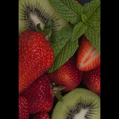Macedonia (christian&alicia) Tags: red macro green fruits fruit studio 50mm nikon mint sigma fruta kiwi d90 strobist strawerries christianalicia