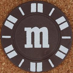 letter m (Leo Reynolds) Tags: gambling canon eos iso100 casino m poker mmm button letter marker chip squaredcircle 60mm token f80 buck oneletter pokerchip letterset lowercase 025sec 40d hpexif grouponeletter xsquarex xleol30x sqset079 xxx2012xxx