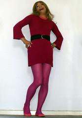 worms eye view of minidress (gillian .) Tags: pink tv dress feminine cd tights transgender mature tranny blonde transvestite crossdresser ts tg minidress pantihose