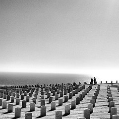 In Point Loma at the National Cemetary (ToGa Wanderings) Tags: ocean california summer white black graveyard silhouette america square death coast seaside holding hands memorial war couple pacific sandiego military headstone cemetary angles line national squareformat hero veteran inkwell pointloma rosecrans iphoneography instagramapp uploaded:by=instagram foursquare:venue=4e88af7502d526b021e24544