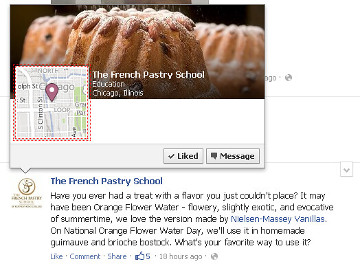 Facebook pages with claimed places will have hover cards with Bing maps