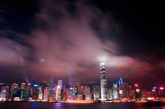 Hong Kong Laser Lights (DPGold Photos) Tags: china city longexposure travel building night river hongkong lights harbor boat nikon asia southeastasia cityscape nightscape harbour victoria hong kong laser victoriaharbour victoriaharbor laserlightshow dpgoldphotos