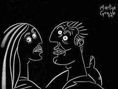Spooky Love In The Dark (spacemonkey5000) Tags: white black love illustration eyes hug couple startled lovers doodle scared embrace clinch spooked artset spacemonkey5000 martyngowen