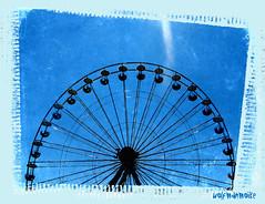 Blue Days Indeed (wolfmanmoike) Tags: carnival texture wheel vintage fairground grunge fair ferris wicklow photoart