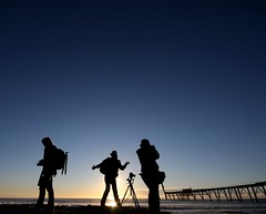 Trio (pominoz) Tags: people silhouette sunrise pier photographer jetty wharf nsw catho catherinehillbay