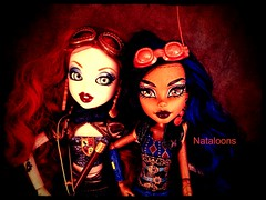 Goggle Girls (Nataloons) Tags: monster metal bronze high doll mechanical witch goggles steam copper cousin brass gears mga mattel bratz supernatural steampunk explored broomstix robecca monsterhigh robeccasteam bratzillaz meygana