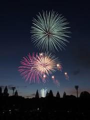 Fireworks (Simon*N) Tags: sunset sky silhouette japan night lumix fireworks olympus 日本 夜景 zuiko hanabi 風景 omd 花火 日常 m43 em5