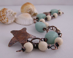Rustic Ocean - Starfish Amazonite copper bracelet2 (sundown_bead_designs) Tags: beach sepia aqua starfish oneofakind rustic ivory jewelry bracelet copper etsy amazonite doublestrand wirewrapped oxidizedcopper