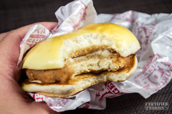 KFC Cheese Top Burger is made of KFC's Original Recipe chicken patty with garlic parmesan dressing