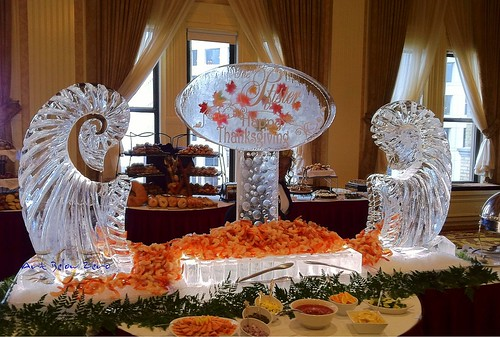 Thanksgiving Cornucopias Seafood Display at the Pfister Hotel Ice Sculpture