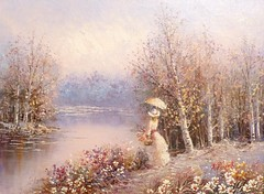 Painting (alanpeacock2) Tags: flowers trees girls nature water painting lakes bing photostream silverbirch lovelyflickr