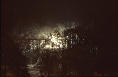 (bensn) Tags: longexposure bridge trees light red film japan night zeiss dark 50mm woods f14 slide contax carl provia nagano s2 100f selfdeveloped