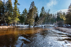 Spring is in the air (randyr photography) Tags: blue winter sky snow water canon river fun fly spring michigan flies 5d flyfishing streamers steelhead manistee mkii puremichigan