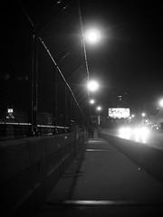 (JihadNinja) Tags: street bridge white black monochrome night dark 50mm industrial milwaukee fujian fujinon 25mm