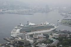 Arrival of a big cruise ship 15 (kmmanaka) Tags: japan nagasaki cruiseship fog rain harbor internationalterminal rose
