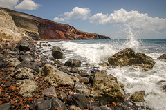Santorini Shore {explored} (robin-loo) Tags: seascape beach nikon aegean santorini greece shore volcanic pumice redbeach explored nikond5100