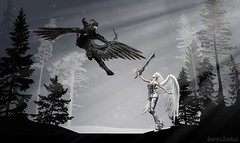 .the daily disputes. (JasmineStardust) Tags: life light white black angel forest dark fight magic secondlife second devil vs magical dispute