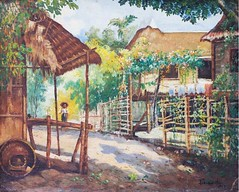 Teodoro Buenaventura: Barrio Scene (Leo Cloma) Tags: gallery antique auction philippines leon antiques makati cloma