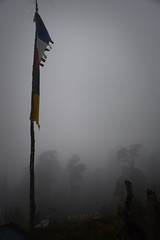 Fog in Pothana (Anonymous Hermit) Tags: travel nepal white mountain black fog trekking trek grey evening high village gloomy dusk ominous buddhist flag altitude prayer gray peaceful overcast calm hike mysterious mystical hazy annapurna himalayas pothana