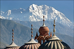 A morning sight on the domes of Shahi Masjid with the majestic Tirich Mir (7706 mt) on the background. Chitral, North Pakistan (sheryaar2012) Tags: pakistan mountains river villages hills peshawar punjab karachi nwfp lahore sindh valleys islamabad quetta azadkashmir balouchistan northpakistan
