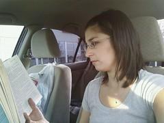57/365 (gina.blank) Tags: woman selfportrait car mobile person book break read brunette selfie yeg project365