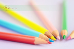 Which color do you wear? (dhmig) Tags: pink blue red stilllife macro green yellow closeup pencil pencils creativity rainbow nikon energy colours dof bokeh details happiness boost colorpencils 50mmf28 softcolours joyoflife nikond7000 dhmig dhmigphotography joyofcolors