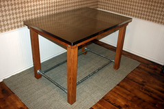 Stainless Steel Pub Table with Foot Rail