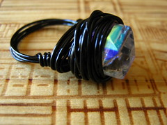 iridescent cube wired ring (Whi