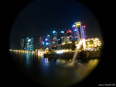 Fisheye view of the Merlion (Daniel Toh) Tags: singapore cbd merlion canons90