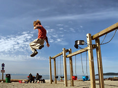 Testing Gravity (Christopher J. Morley) Tags: morning west beach playground vancouver flying sam walk swings son swing suspendedinair