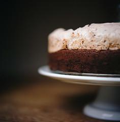 cake or death? (manyfires) Tags: food macro film cake closeup mediumformat cakestand square baking chocolate hasselblad bakedgoods hasselblad500cm objecta chocolatehazelnutmeringue bakingwithkatie