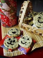 Davids Seaweed Sabls (ComeUndone) Tags: baking doriegreenspan frenchfridayswithdorie aroundmyfrenchtable cookie butter sesameseed davidlebovitz fleurdesel icingsugar nori seaweed sabls sesameoil