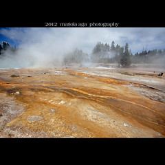 Silex Spring surroundings ~ Lower Geyser Basin (mariola aga) Tags: hot color water square nationalpark wideangle steam yellowstonenationalpark change bacteria hotsprings geysers lowergeyserbasin thegalaxy silexspring