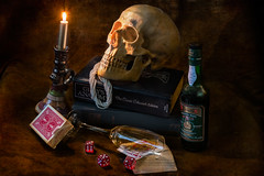 Higher Education (drmerlin) Tags: stilllife dice gambling studio cards death skull nikon wine chance symbols candlestick d800 shootingtable ringexcellence