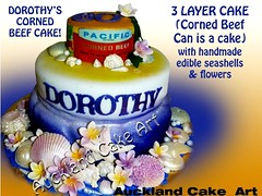 DOROTHY'S CORNED BEEF CAN CAKE (Anita (Auckland Cake Art)) Tags: birthday new wedding party baby art cakes cake seashells island stag chocolate can auckland zealand samoa pacifica cornedbeef samoan hens fondant tongan frangipanis sugarpaste cricut aucklandcakeart