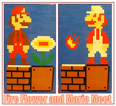 Fire Flower and Mario Meet (notenoughbricks) Tags: lego mario nes 8bit mariobros fireflower firemario legomosaic videogamesprite brickfair2012