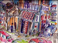 ANOTHER TIME, ANOTHER PLACE IN JAPAN 1961 (roberthuffstutter) Tags: style expressionism impressionism huffstutter watercolorsbyhuffstutter artmarketusa