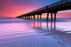 Jacksonville Beach Pier (Brandon Lyons) Tags: ocean winter sky reflection sunrise pier sand brandon fl lyons