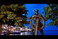 Captain at the Helm (Far & Away (On assigment, mostly off)) Tags: city blue light usa chicago art monument public water wheel statue night america pier illinois united unitedstatesofamerica north navy windy landmark captain states navigation helm estadosunidos eeuu michaelmartino 100commentgroup