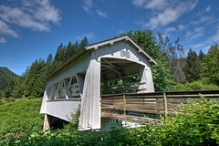Sandy Creek Covered Bridge (Thad Roan - Bridgepix) Tags: wood bridge blue sky white clouds oregon photo image picture historic covered remote hdr facebook d800 sandycreek 201205 bridgepix